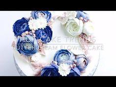HOT CAKE TRENDS Buttercream Blue Roses Wreath cake - How to make by Olga Zaytseva - YouTube
