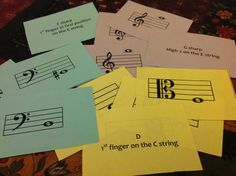 flashcards for string instruments in beginning orchestra