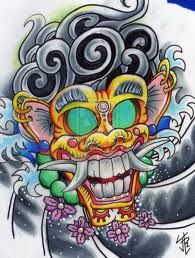 Demon of Bali mask tattoo design