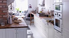 IKEA kitchen inspirations gallery 15 of 19 - Homelife Ikea Kitchen, Kitchen Living, Kitchen Interior, Home Interior Design, Kitchen Ideas, Rustic Kitchen, Cocinas Kitchen, My Ideal Home, Kitchen Gallery