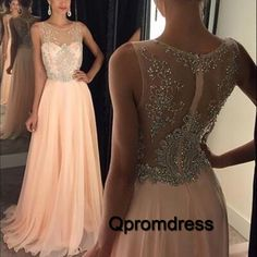 2016 elegant illusion neck pink chiffon long prom dress with sequins on the top,ball gown, prom dresses for teens