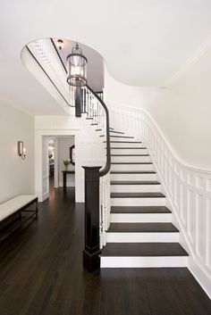 another idea, dark wood stairs with white accents