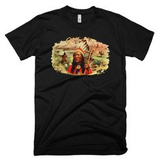 Great Chief American Indian Native Vintage Graphic Unisex Mens or Womens Short Sleeve T-shirt Black White Navy Gray tshirt