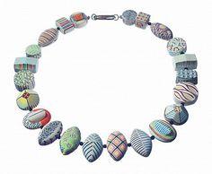 Art Jewelry, Karen Thuesen Massaro, Artist, NECKLACE 4, 2012, porcelain, onyx spacer beads, sterling clasp, 24 inches Polymer Clay Necklace, Polymer Clay Beads, Lampwork Beads, Ethnic Jewelry, Jewelry Art, Polymer Clay Creations, Ceramic Jewelry, Art Quilting, Assemblage Art