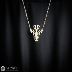 Animal necklace geometric necklace giraffe necklace by ByYaeli Giraffe Jewelry, Giraffe Necklace, Animal Jewelry, Cute Jewelry, Modern Jewelry, Unique Jewelry, Boho Jewelry, Jewelry Ideas, Fashion Jewelry