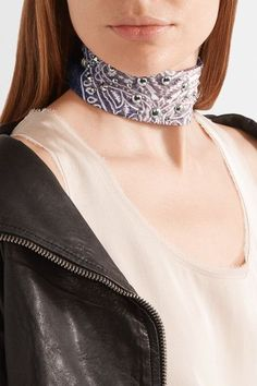 DANNIJO - Zuma Printed Cotton-voile And Silver-plated Choker - Blue - One size