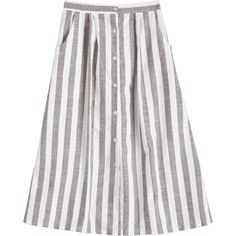 High Waist Button Up Striped Skirt ($30) ❤ liked on Polyvore featuring skirts, high waisted button up skirt, button down skirt, high-waist skirt, high-waisted skirt and high rise skirts