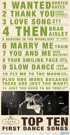 Top Ten First Dance Songs..some of these are good ones