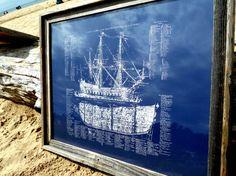 Fancy - Old Ship Diagram screen printed Nautical by IScreenYouScreen
