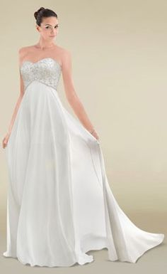 Simple Beaded Embroidered Sweetheart Empire Maternity Wedding Dress
