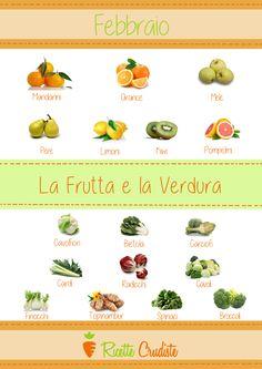 Diamo il benvenuto alla frutta e la verdura del mese di Febbraio :-) #crudismo #vegan #fruttaDiStagione #verdureDiStagione #rawfood #raw