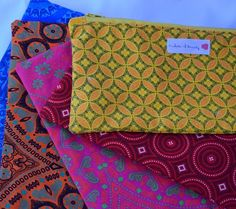 Order your pencil bag in any of our Shweshwe colours! Pencil Bags, Colours, Pockets, Sewing, Create, Beauty, Beautiful, Dressmaking, Couture