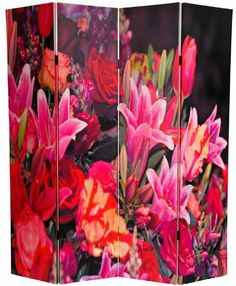 Amazon.com - Oriental Furniture Big Colorful Wall Art Print Reproduction Folding Floor Screens, 6-Feet Double Printed Spring Flowers Canvas ...