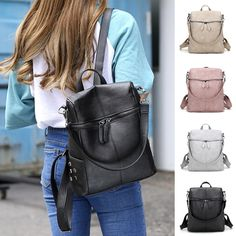 Simple Style High Quality PU Leather Women's Backpack Purse - Available in 4 Colors Designer Backpack Purse, Leather Backpack Purse, Rucksack Bag, Leather Satchel, Women's Backpack, Pu Leather, Designer Backpacks, Foto Pose, Zipper Bags