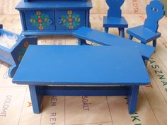 Vintage,Hungarian,handpainted blue,wood dollhouse set,furniture,bench,table,crib,cupboard,stool with flower pattern by VintageMarketArt on Etsy