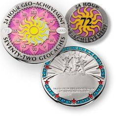 24 Hour - 72 Caches Geo Achievement® Award Set - It is not easy to collect lots of geocache finds in 24 hours, but yet some people have accomplished several hundred in one day. This is a magnificent achievement and this coin is the perfect award for it. Give it as a gift at events, for birthdays, or get one for yourself to display. Includes coin stand and pin.  $14.99 @ shop.geocaching.com