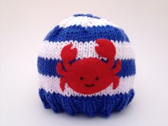 handmade baby or child's summer hat in cotton knit: red crab on blue and white stripes; www.cutiepiehats.com