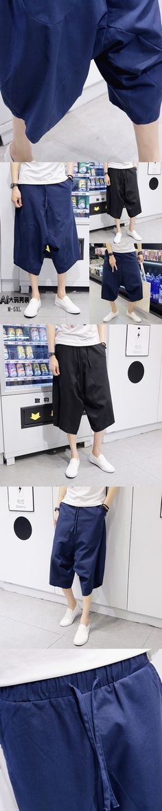 Haroun pants of male big yards 2017 breathable linen casual male capris summer loose harem pants singer costumes [M-5XL]