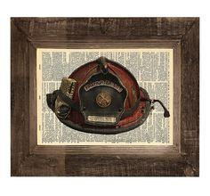 Authentic Firefighter Helmet Original Print on an Antique Upcycled Bookpage  Play room decor??
