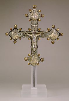 Processional Cross, 1468-1483, silver, silver gilt, enamel, gilded copper, iron, wood, Sulmona, Italy