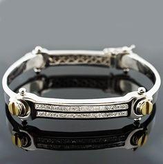 Large Gold Bracelets for Men | Shop Men's Two-Tone Diamond Screw Side Bracelet in 14k Gold at Jahan ...