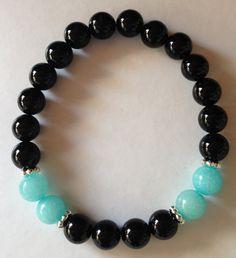 Stretch Bracelet, Onyx/Amazonite, Chakra bracelet,healing bracelet,boho bracelet,silverbymaggie,beaded bracelet, by SilverByMaggie on Etsy