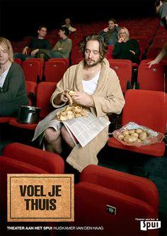 """Theater aan het Spui wil zich sterker in de markt positioneren. Gekozen is voor de pay-of """"Huiskamer van Den Haag"""". De gedachte om iedereen zich thuis te laten voelen in Theater aan het Spui wordt in alles (organisatiebreed) doorgevoerd. Tot deze campagne was Theater aan het Spui een van de vele theaters in Den Haag en mistte een eigen gezicht. Dat is met deze profilering veranderd. Creatie Studio Jona, fotografie Sarah Carlier  www.theateraanhetspui.nl"""