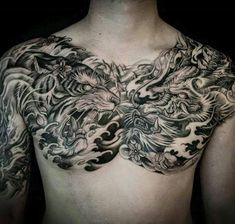 Tiger and Dragon Full Chest Piece tattoo Tattoos, Chest piece tattoos, Evil tattoos Here we have good photo about tattoo on chest. Chest Tattoo Japanese, Japanese Tiger Tattoo, Japanese Dragon Tattoos, Japanese Tattoo Designs, Japanese Sleeve Tattoos, Full Chest Tattoos, Chest Piece Tattoos, Pieces Tattoo, Asian Tattoos
