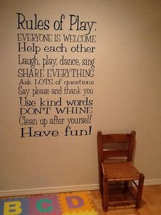 playroom rules of play - or toy chest