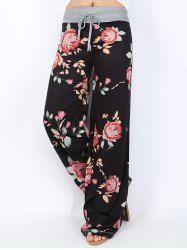 Floral Print High Waist Wide Leg Pants - BLACK