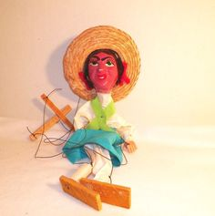 Vintage Marionette Mexican Girl Puppet Folk Art 13 Inch Plastic Wood