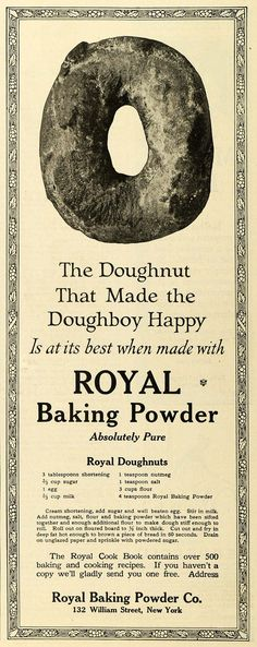 1919 Ad Doughnut Recipe Food Products Royal Baking Powder Donut Sweets TMP2 - Period Paper
