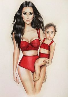 Kim & North West by Illustration Art Drawing, Fashion Illustration Sketches, Fashion Sketches, New Fashion, Fashion Art, Fashion Design, Lady Grace, Kim And North, Watercolor Fashion