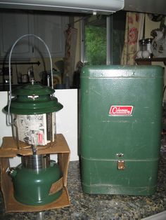 New 1973 GREEN COLEMAN LANTERN WITH Used METAL CASE   #Coleman