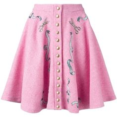 Olympia Le-Tan pleated button-up skirt (3,800 SAR) ❤ liked on Polyvore featuring skirts, pink, button up skirt, pink skirt, button down skirt, pink pleated skirt and knee length pleated skirt