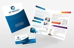 Création graphique d'une plaquette commerciale et de carte de visite pour la société AF Invest