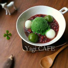 Japanese Sweets / 手作り濃茶アイスの冷やしぜんざい