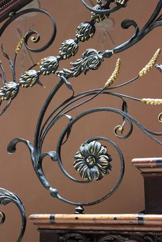 Wrought-iron balustrade with ears of corn in the staircase at Claydon House, c.1760 by Rubens1577, via Flickr