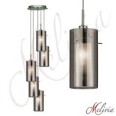 Pendellampe Pendelleuchte 1/3/5fl. Chrom smokey Glas Grau Hängelampe Deckenlampe…