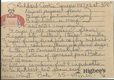 Vintage Cookbooks & Crafts: Handwritten Recipe: Rhubarb Cookie Squares