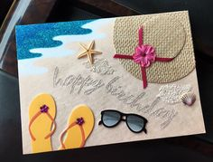 beach signs for home Cricut Cards, Stampin Up Cards, Beach Scrapbook Layouts, Karten Diy, Nautical Cards, Beach Cards, Birthday Wishes Cards, Retirement Cards, Marianne Design