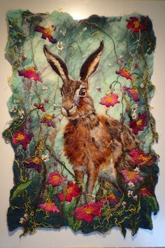 Found in the Flowers – wet felted wool and free motion machine embroidery – www.marmaladerose… (Fiona Gill) Found in the Flowers – wet felted wool and free motion machine embroidery – www. Textile Fiber Art, Textile Artists, Fiber Art Quilts, Felt Pictures, Textiles, Rabbit Art, Wool Art, Bunny Art, Felt Art