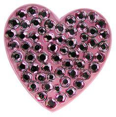 Pink Heart ball marker with Swarovski crystal. Great for Valentine's Day on the golf course.  Women's golf fashion accessory.  #navika #golf #ballmarker #valentine #heart