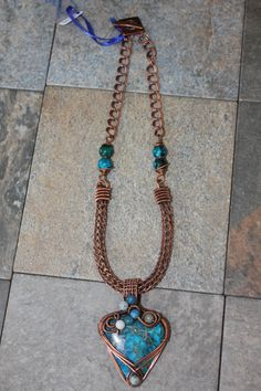 Copper Wire Wrapped Jasper Pendant on Copper Viking Weave Necklace