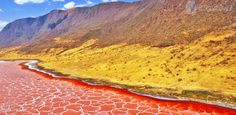 10 of the Most Colorful Places On Earth via @PureWow LAKE NATRON, TANZANIA This shallow salt and soda lake is so saline that it's completely inhospitable for most flora and fauna. The trade-off? The amazing red water color and electric orange shores.