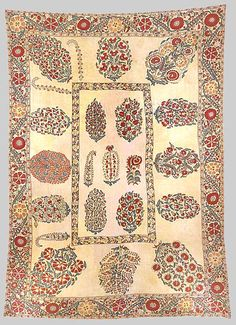 Esther Fitzgerald Rare Textiles. Dowry Textile Silk embroidered on cotton susani. Measurements: 87ins x 61ins. 19th c