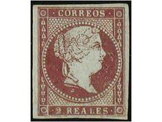 Spanien   Beschreibung  42. 2 Reales violeta. Pieza de LUJO. Cert. COMEX. Cat. 1.120 €.