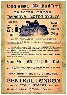 Vintage Early 20th Century Peugeot Motorcycle Advertisement Poster  A3 Print