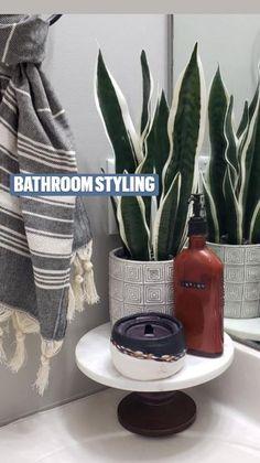 Bathroom Tray, Bathroom Styling, Bathroom Interior Design, Bathroom Storage, Spring Home Decor, Fake Plants, Ring Dish, Bathroom Organization, Seasonal Decor