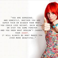 "Hayley Williams<<<This made me love her 100000000000% more now. She is my favorite ""celebrity"" ever."